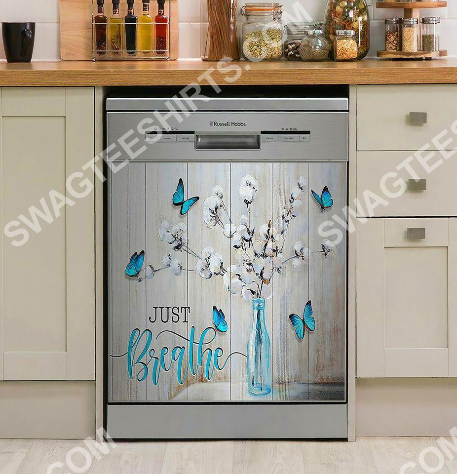 blue butterfly just breathe kitchen decorative dishwasher magnet cover 2