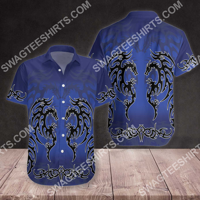 blue tribal dragon tattoo all over printed hawaiian shirt 3(1)