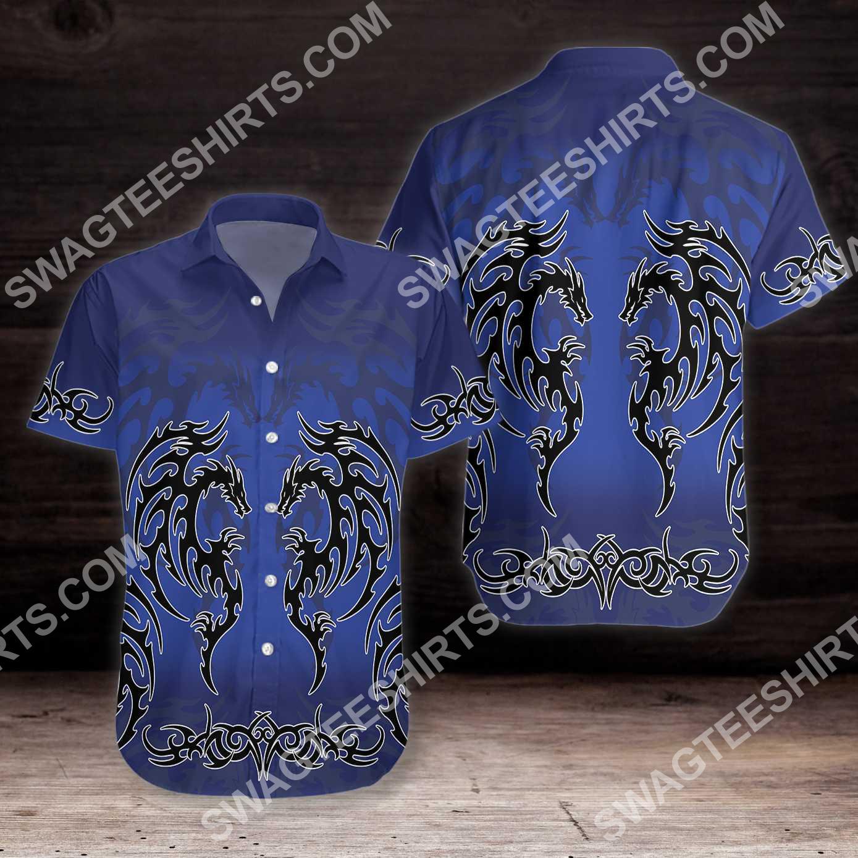 blue tribal dragon tattoo all over printed hawaiian shirt 4(1)