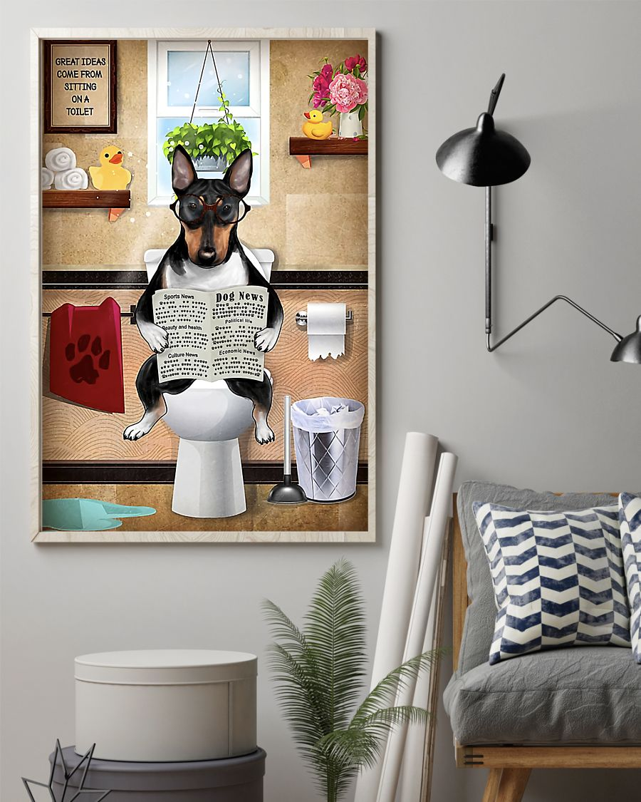 bull terrier sitting on toilet great ideas poster 2