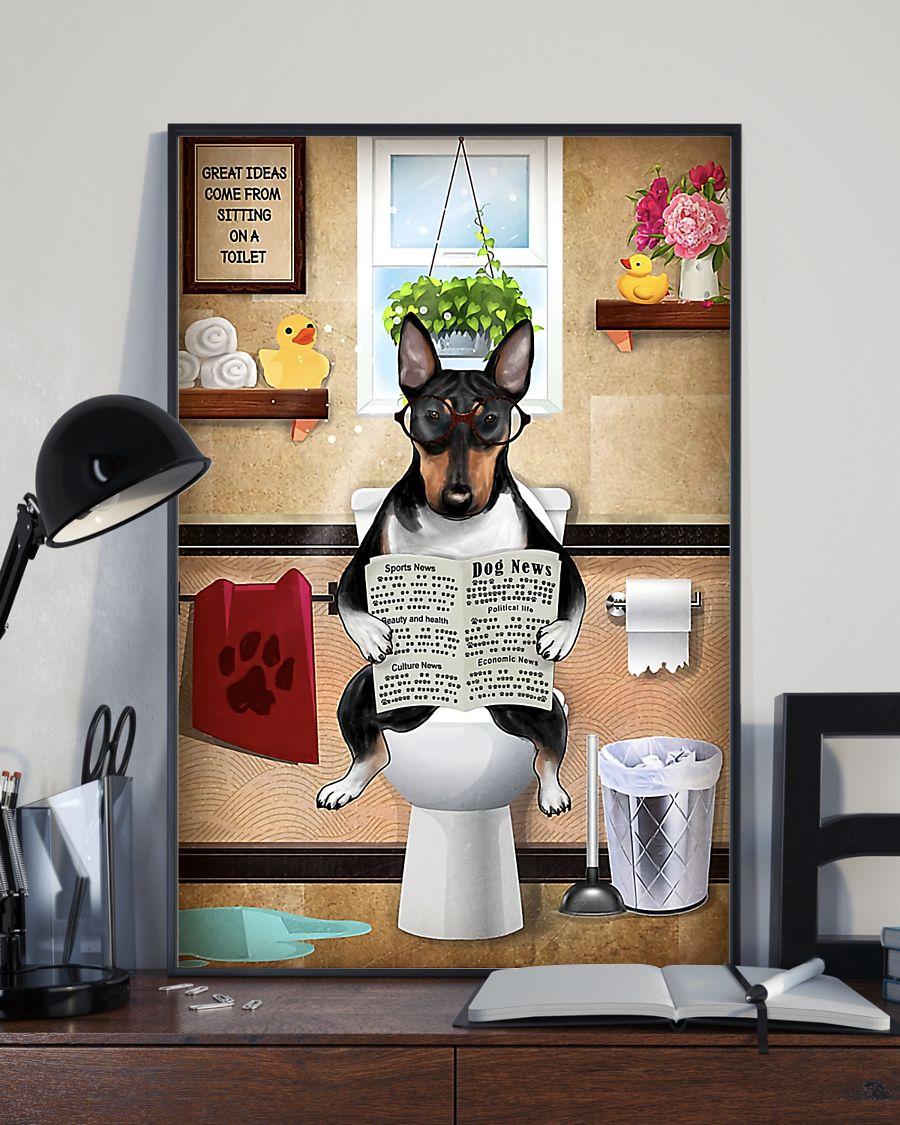 bull terrier sitting on toilet great ideas poster 4