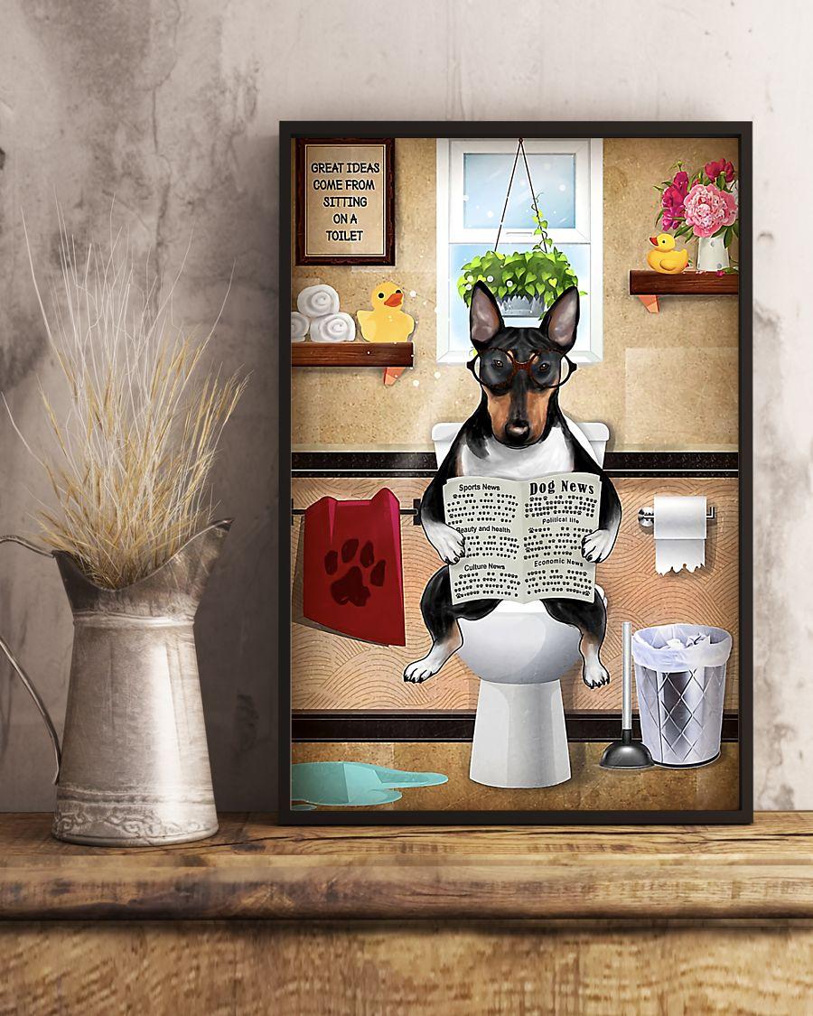 bull terrier sitting on toilet great ideas poster 5