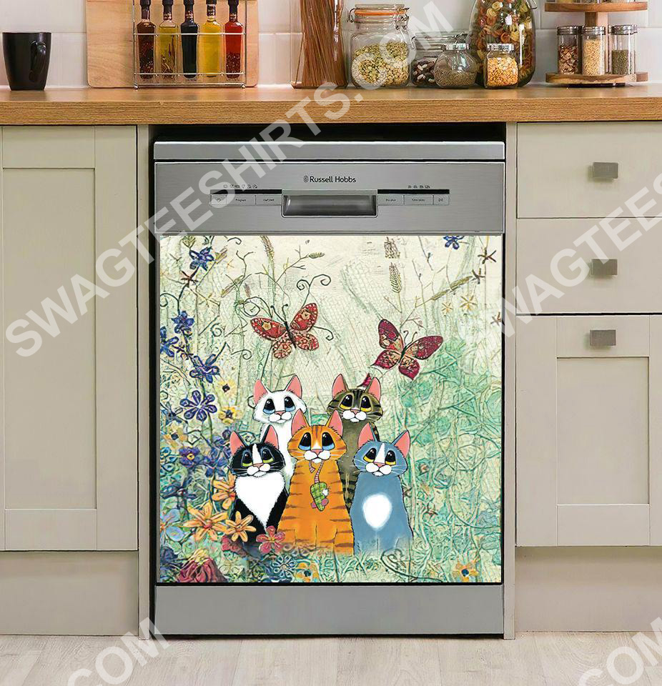 cat and flower kitchen decorative dishwasher magnet cover 2 - Copy
