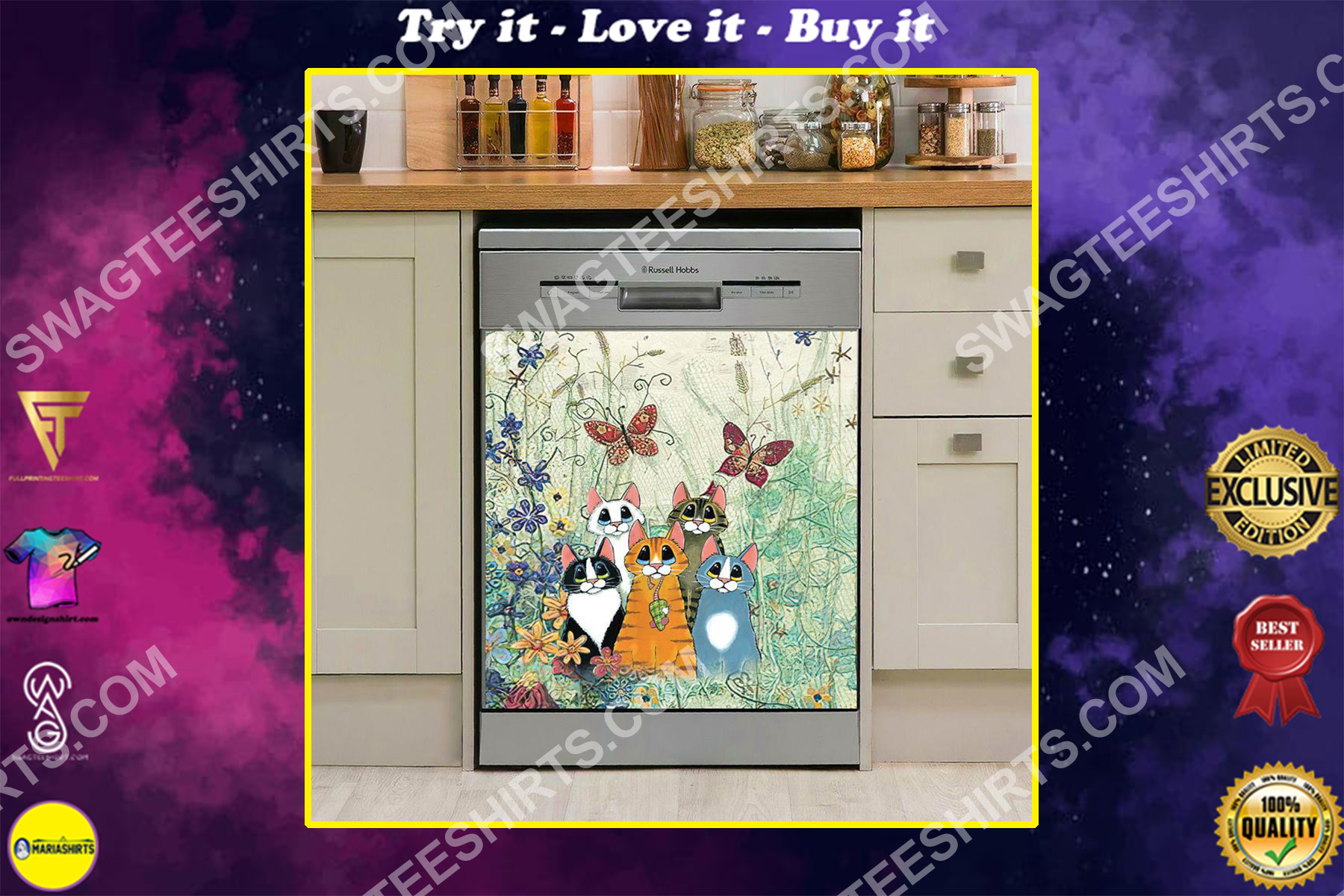 cat and flower kitchen decorative dishwasher magnet cover