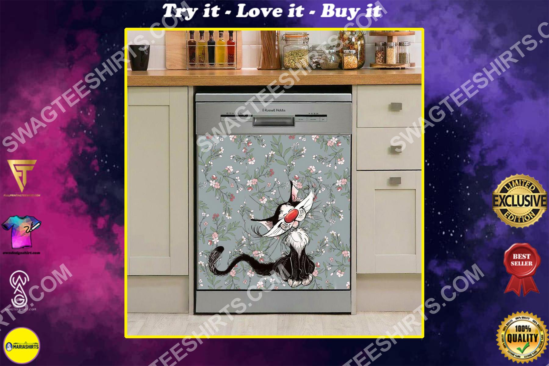 cat floral kitchen decorative dishwasher magnet cover