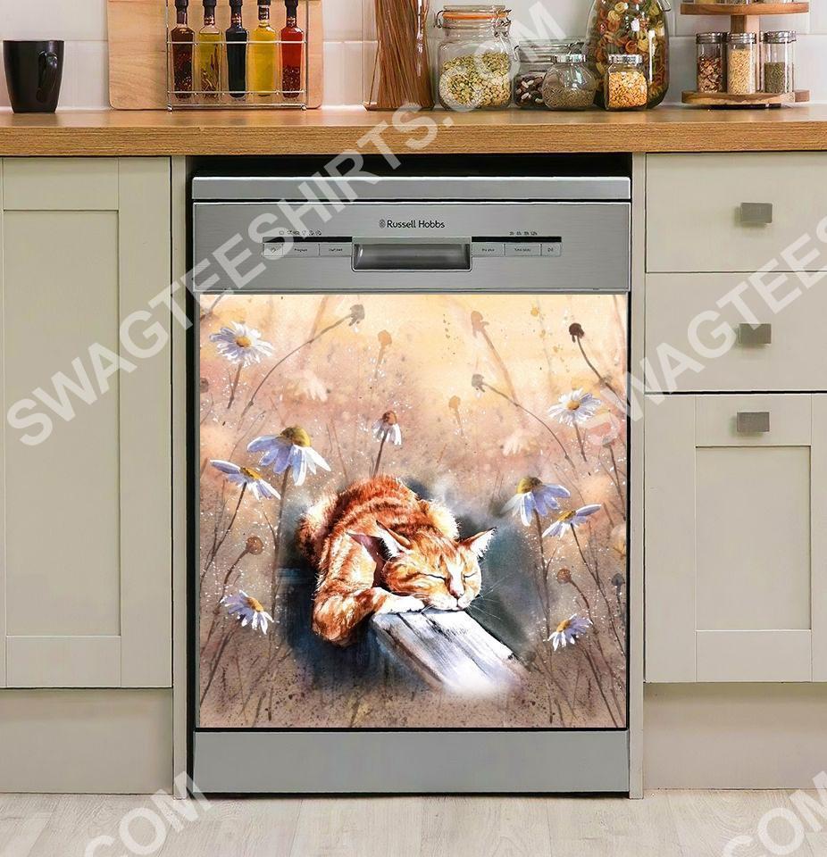 cat with sunshine kitchen decorative dishwasher magnet cover 2