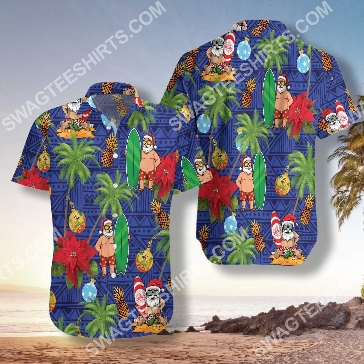 christmas time santa claus surfing all over printed hawaiian shirt 3(1) - Copy