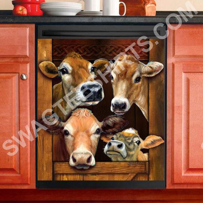 cow farm life kitchen decorative dishwasher magnet cover 2
