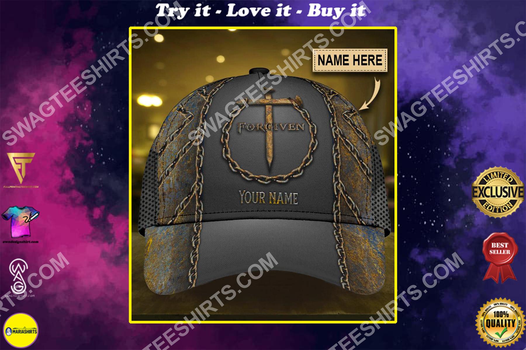 custom name Jesus cross forgiven all over printed classic cap