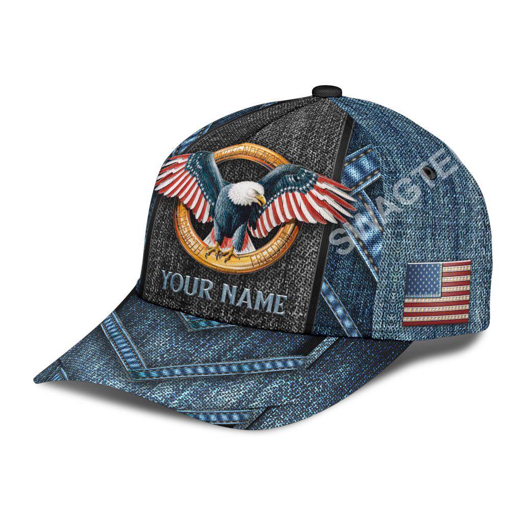 custom name american eagle flag all over print classic cap 2(1)