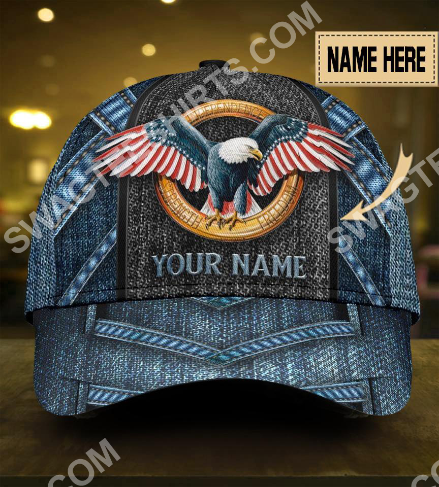 custom name american eagle flag all over print classic cap 5(1)
