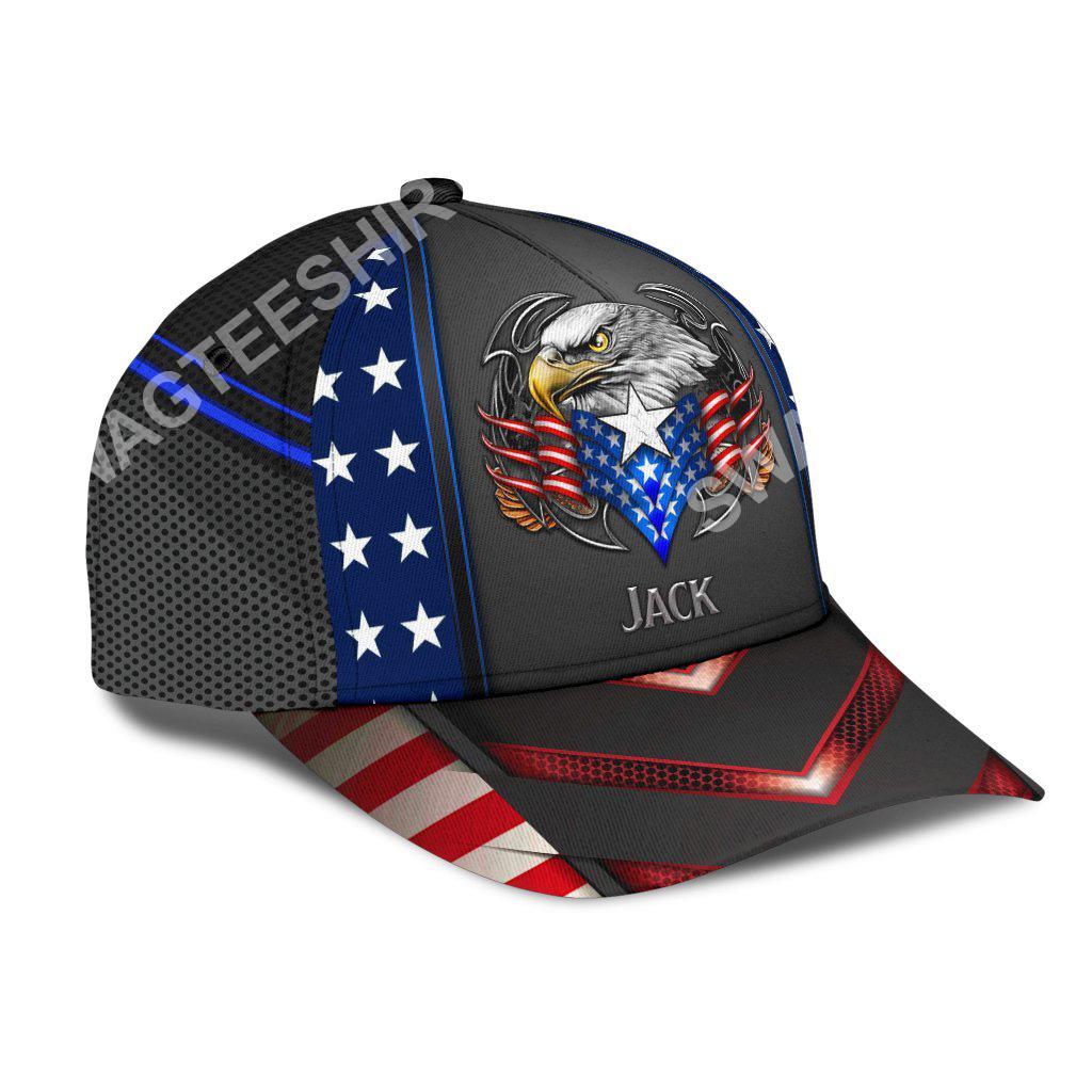 custom name american flag eagle all over print classic cap 3(1)