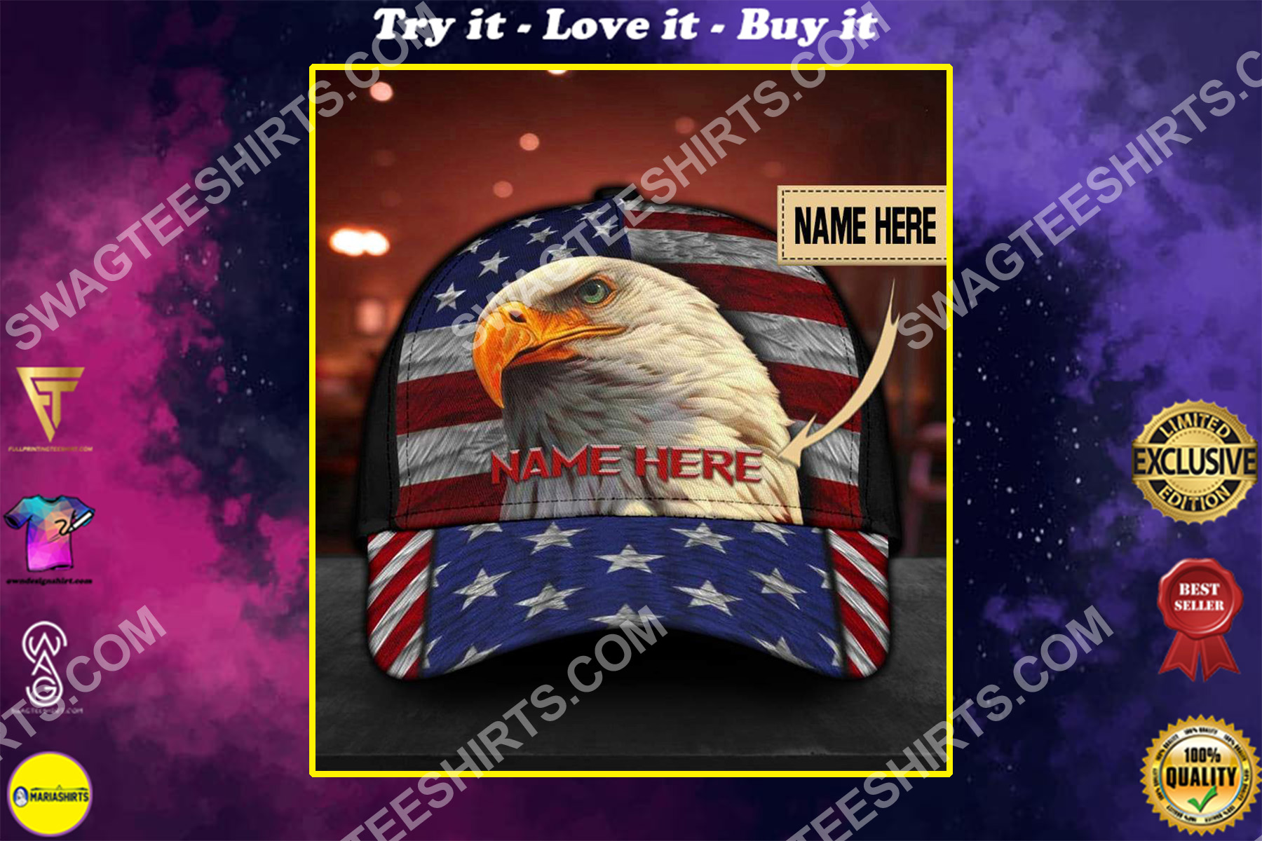 custom name american flag independence day all over printed classic cap