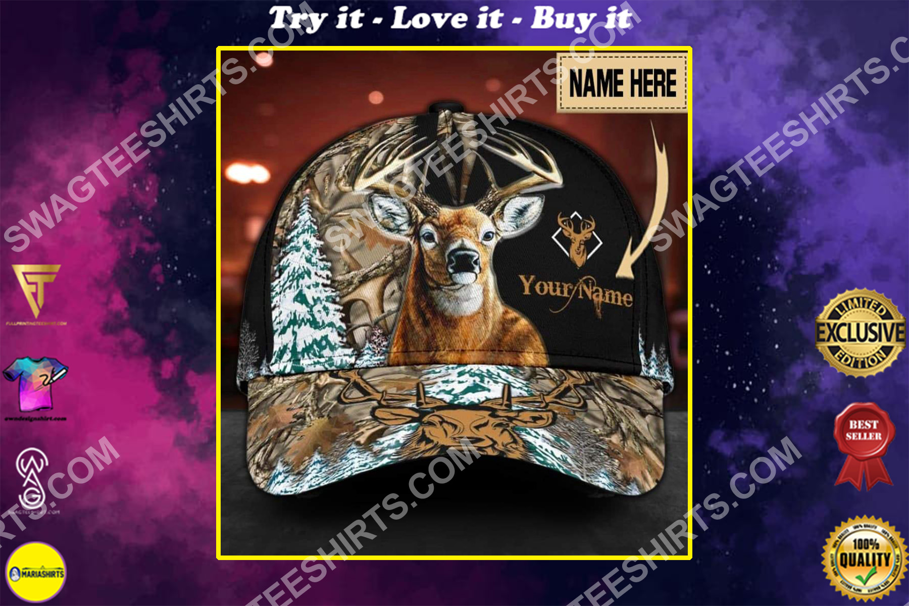 custom name deer hunting camouflage all over printed classic cap