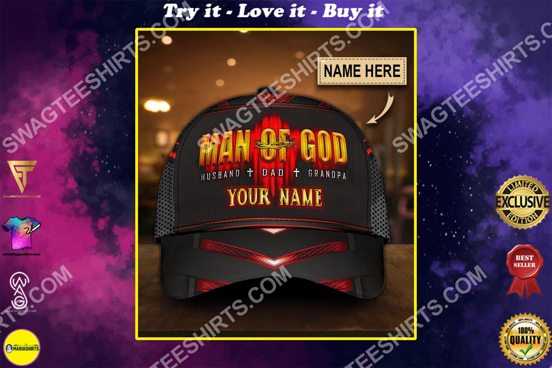 custom name man of God all over printed classic cap