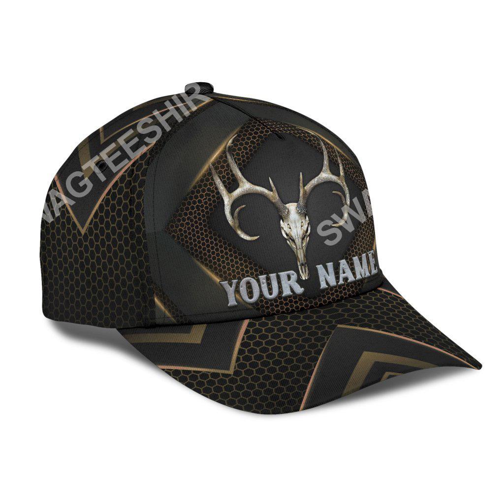 custom name skull deer hunter all over printed classic cap 2(1)