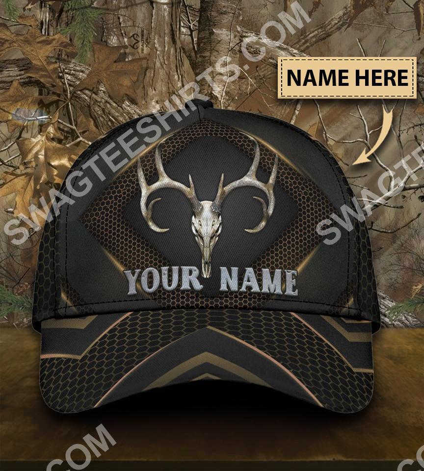 custom name skull deer hunter all over printed classic cap 5(1)