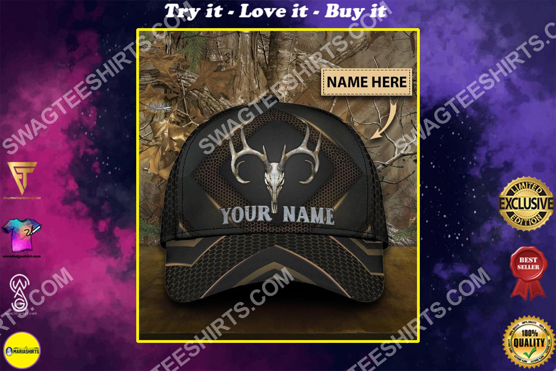 custom name skull deer hunter all over printed classic cap
