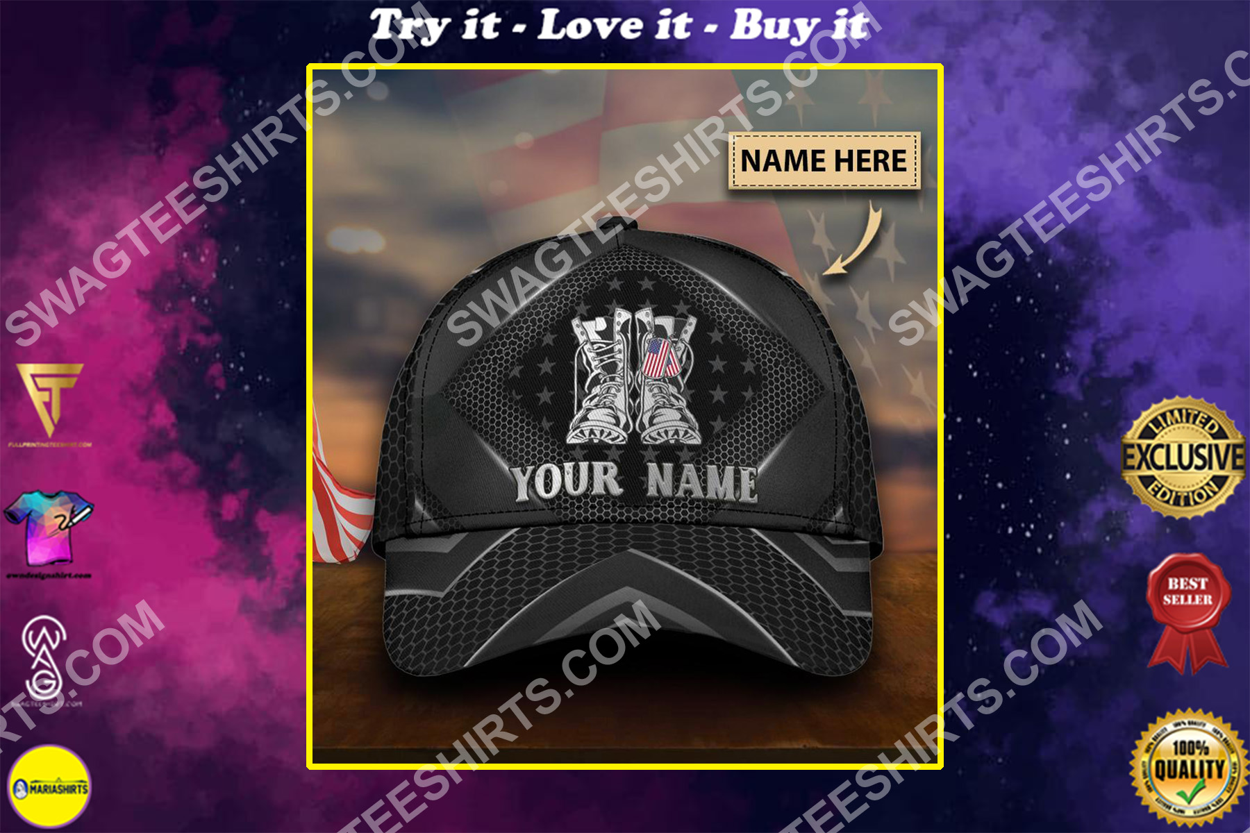 custom name veteran boots all over printed classic cap