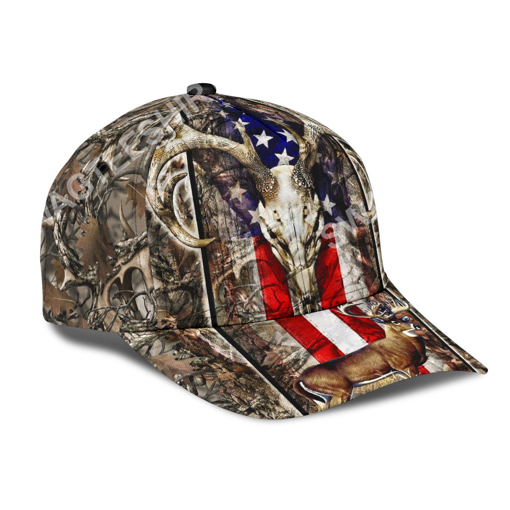 deer hunting camo pattern all over printed classic cap 2(1)
