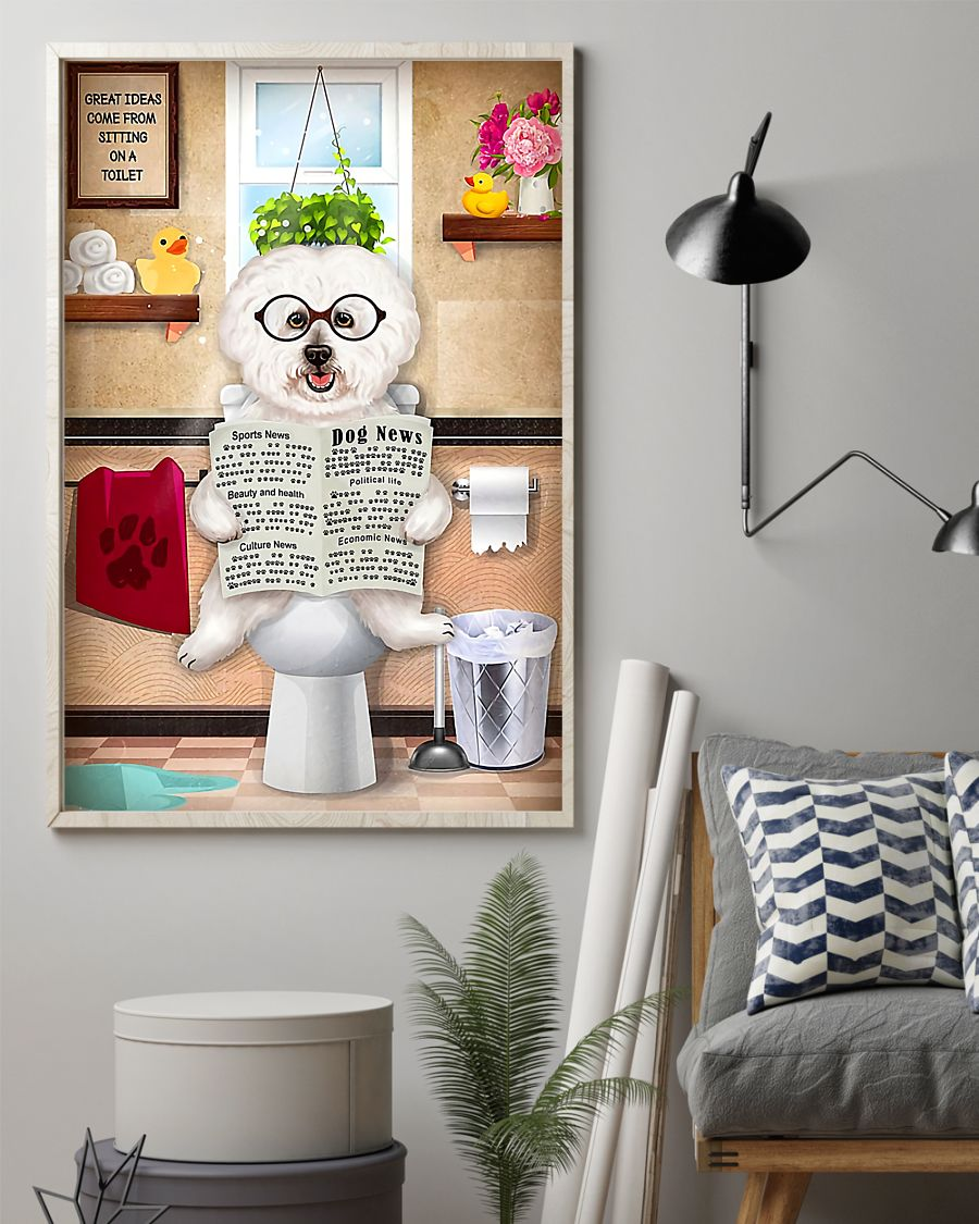 dog bichon frise sitting on toilet great ideas poster 2