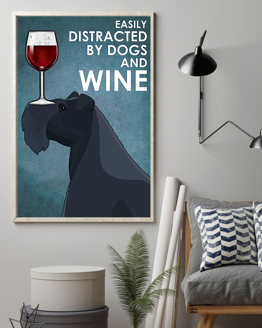 dog kerry blue terrier easily distracted by dogs and wine poster 2