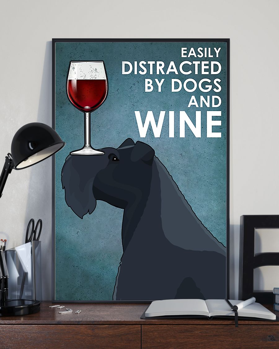 dog kerry blue terrier easily distracted by dogs and wine poster 3