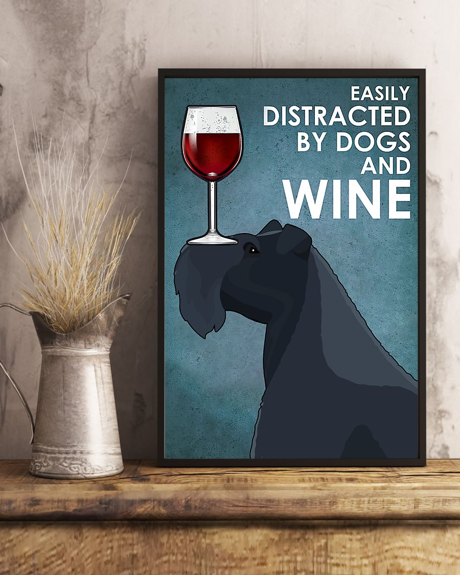 dog kerry blue terrier easily distracted by dogs and wine poster 5