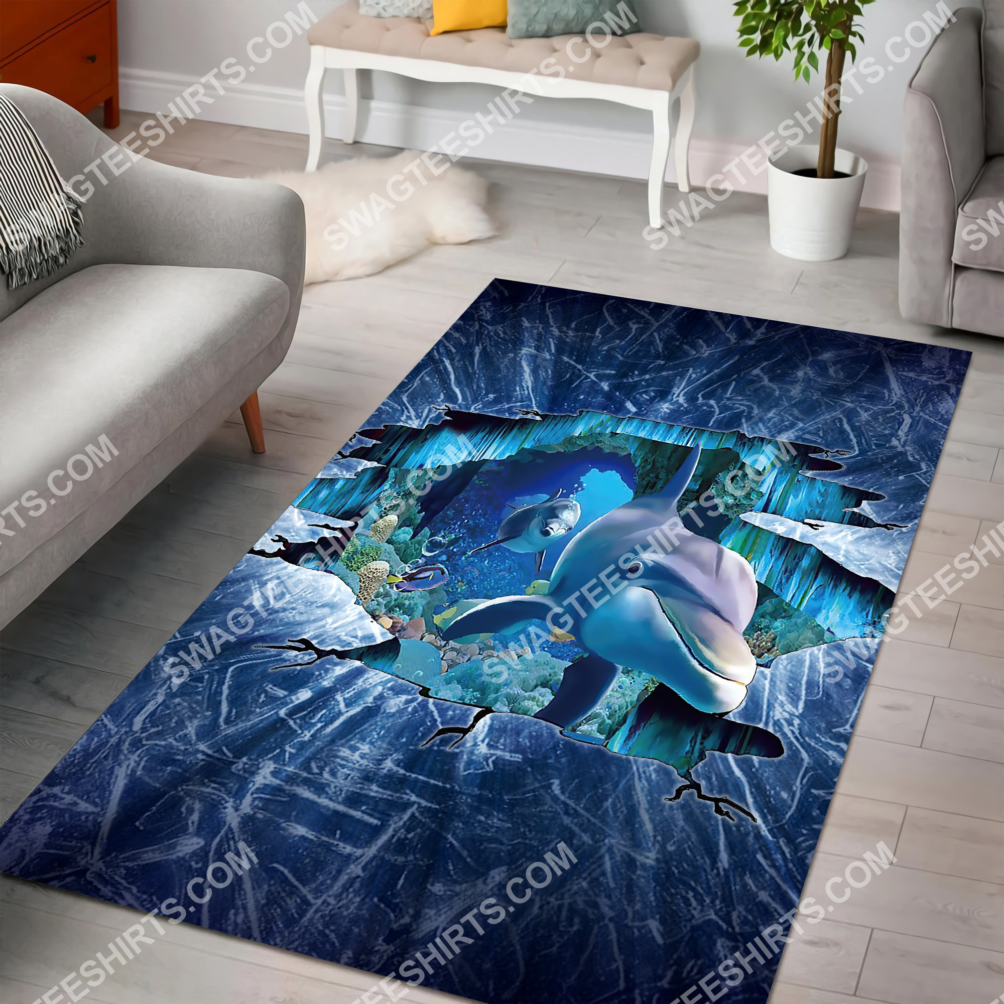 dolphin lovers art all over printed rug 3(1)