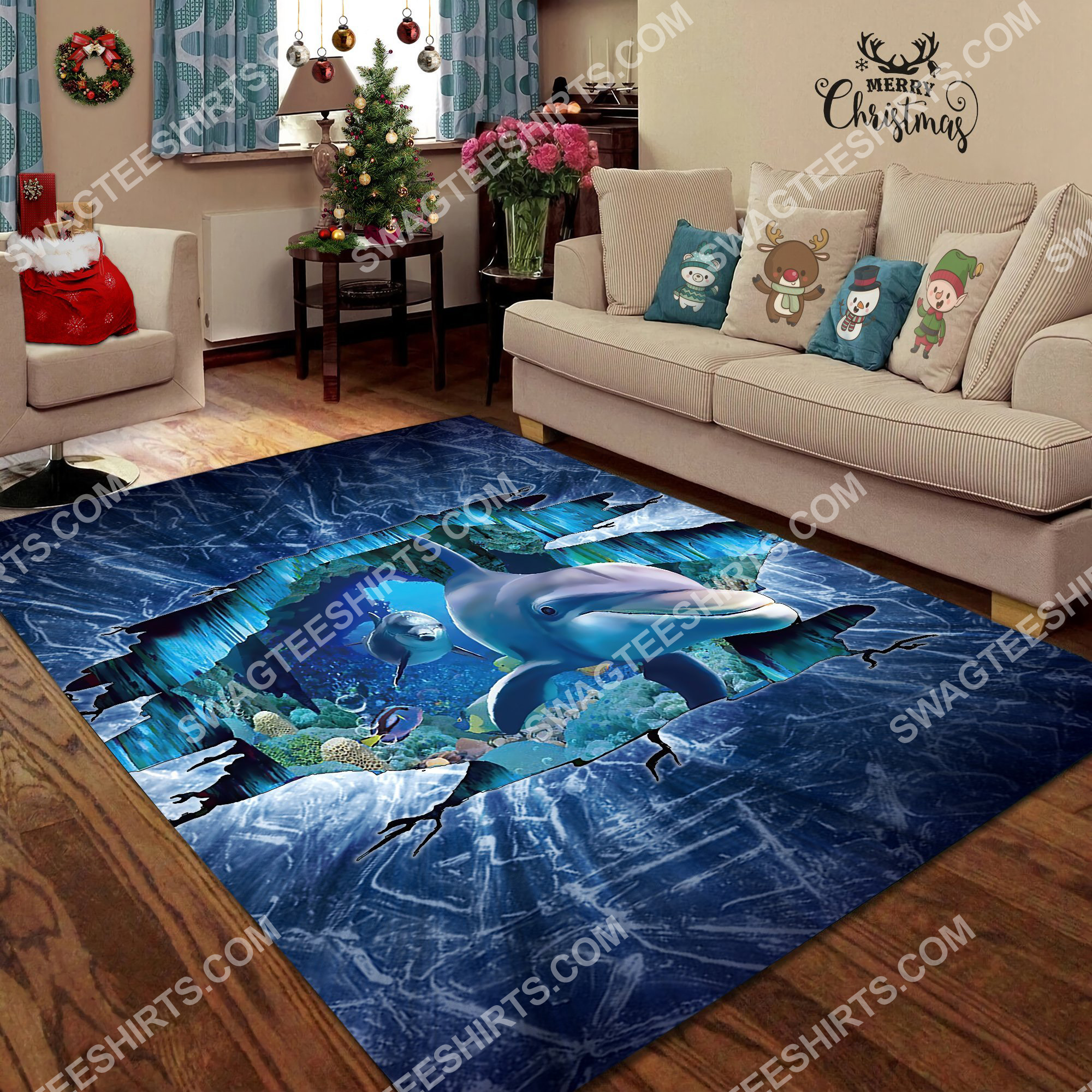dolphin lovers art all over printed rug 4(1)