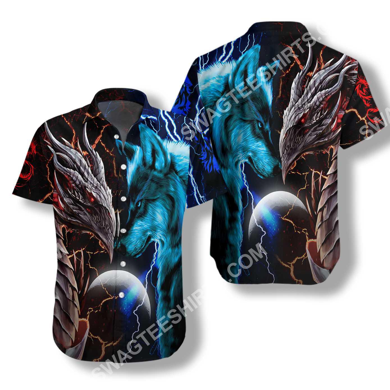 dragon and wolf all over printed hawaiian shirt 2(1)