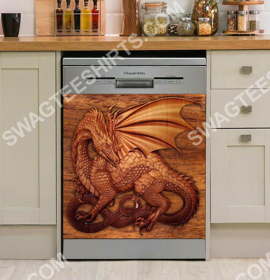 dragon vintage kitchen decorative dishwasher magnet cover 2