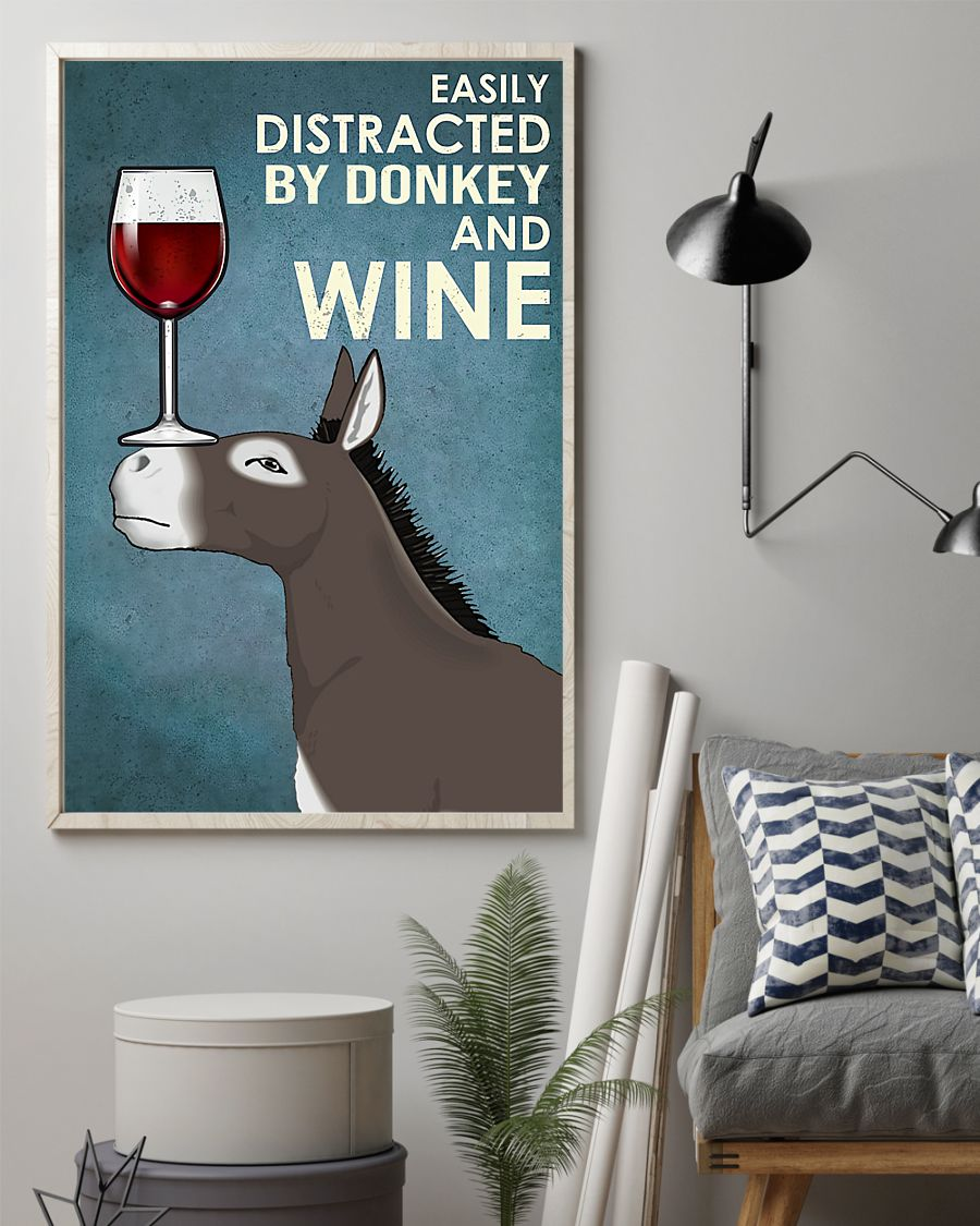easily distracted by donkey and wine poster 2