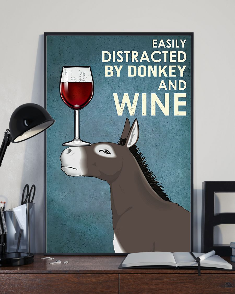 easily distracted by donkey and wine poster 4