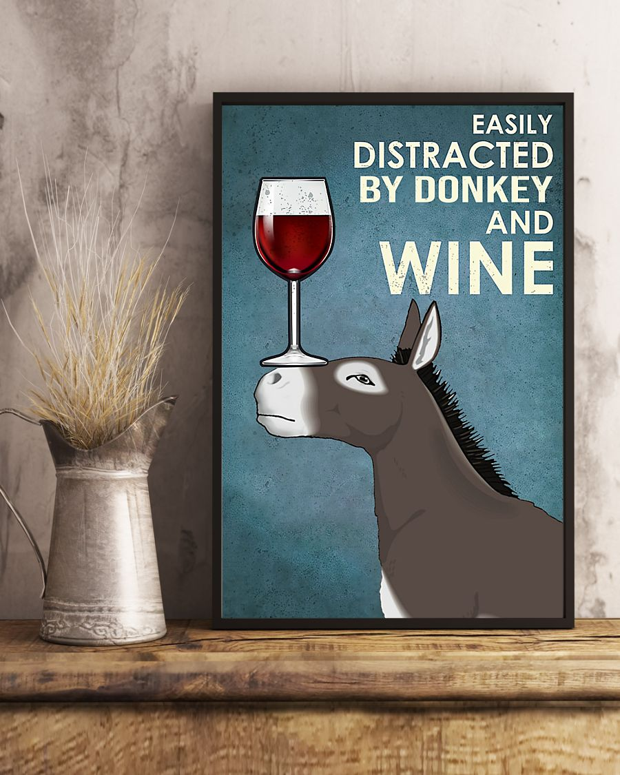 easily distracted by donkey and wine poster 5