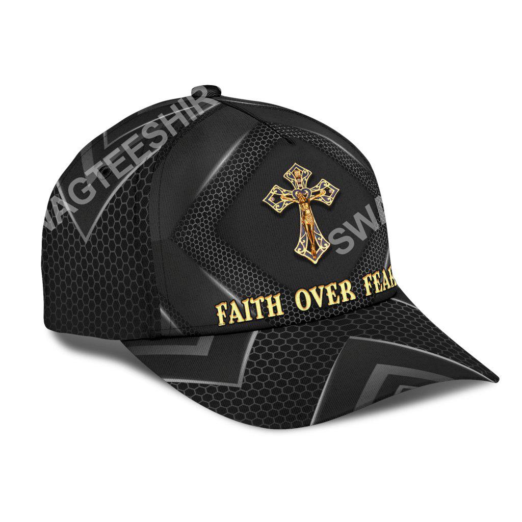 faith over fear God cross all over printed classic cap 2(1)