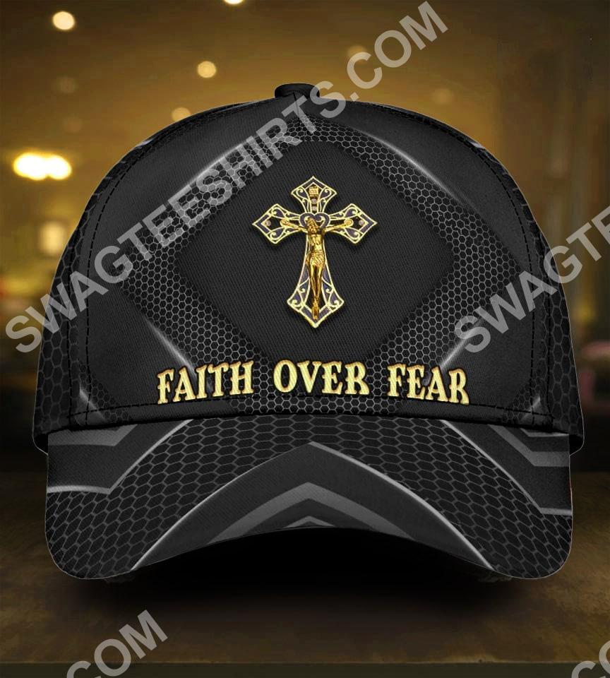faith over fear God cross all over printed classic cap 5(1)