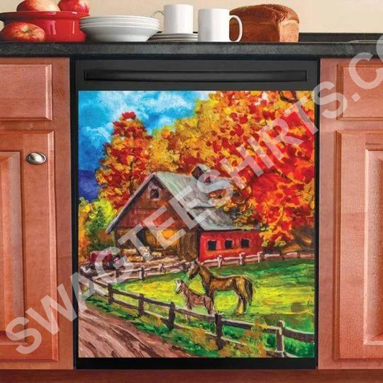 farm life and horses kitchen decorative dishwasher magnet cover 2