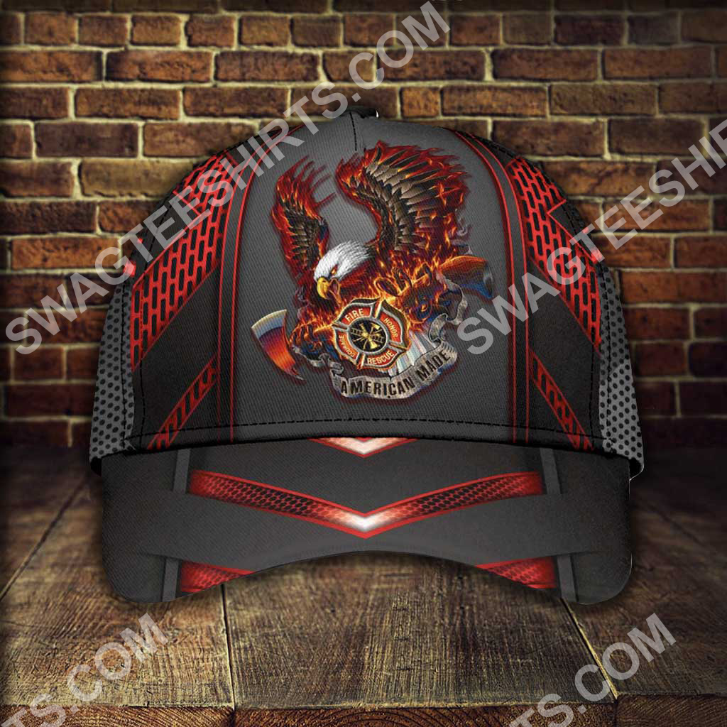 firefighter eagle american flag all over printed classic cap 5(1)