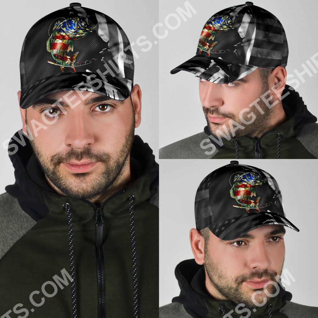 fishing american flag all over printed classic cap 4(1)
