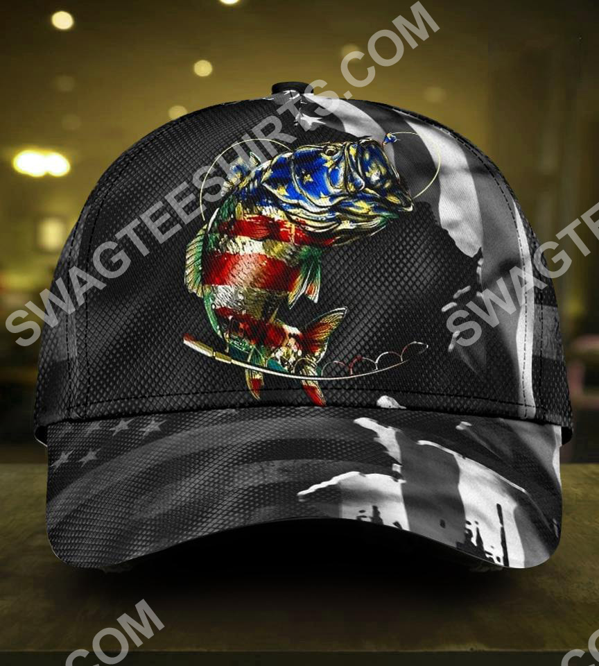 fishing american flag all over printed classic cap 5(1)