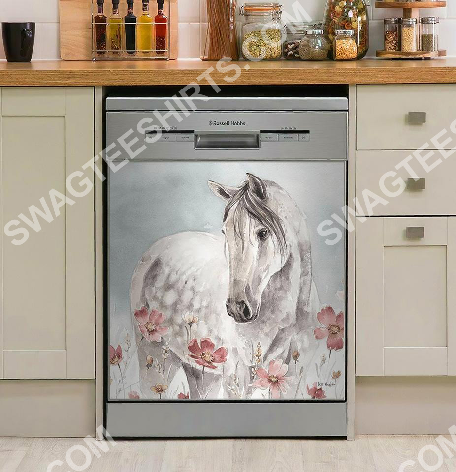 flower and horses kitchen decorative dishwasher magnet cover 2