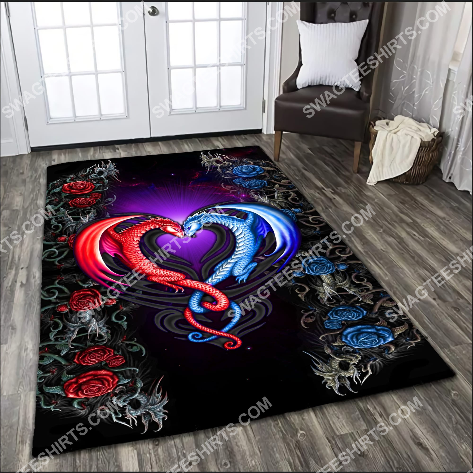 flower dragon couples painting art all over printed rug 2(1)