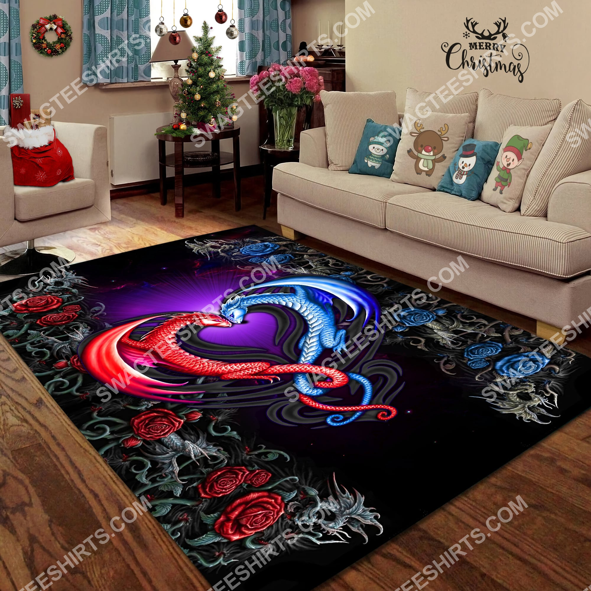 flower dragon couples painting art all over printed rug 3(1)