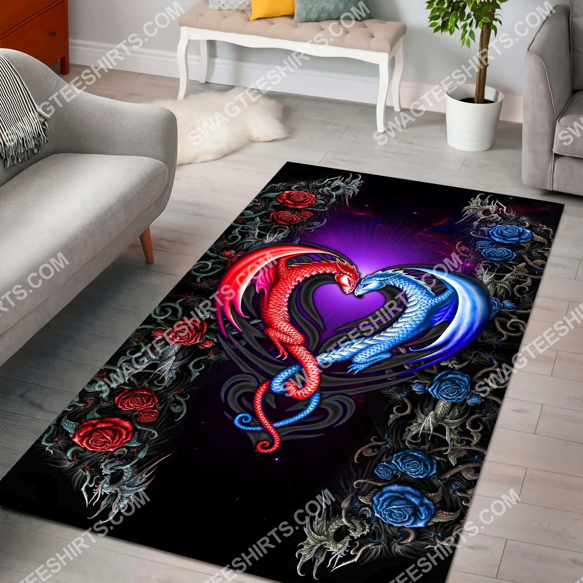 flower dragon couples painting art all over printed rug 5(1)