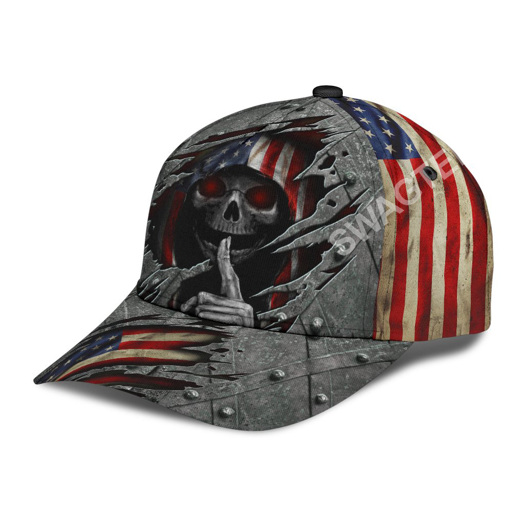 fourth of july american flag skull all over printed classic cap 3(1)