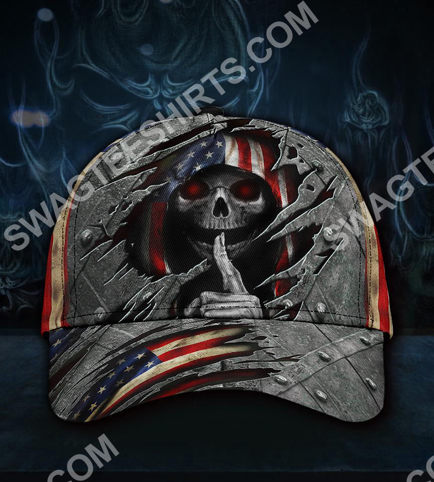 fourth of july american flag skull all over printed classic cap 5(1)