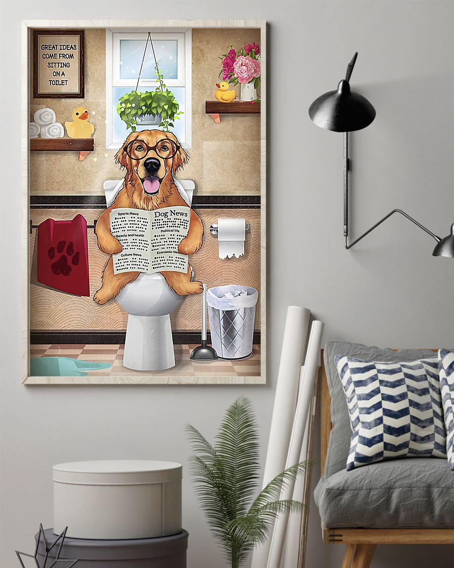 golden retriever great ideas sitting on toilet poster 2