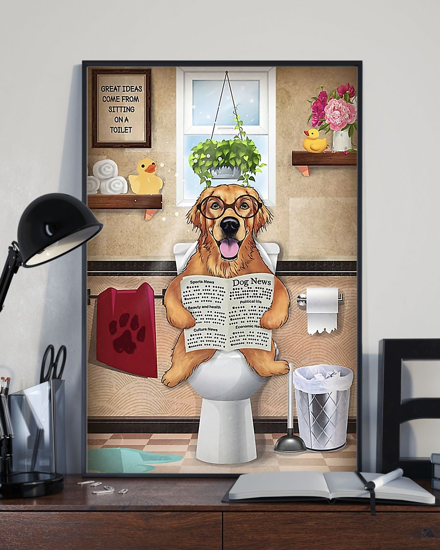 golden retriever great ideas sitting on toilet poster 4