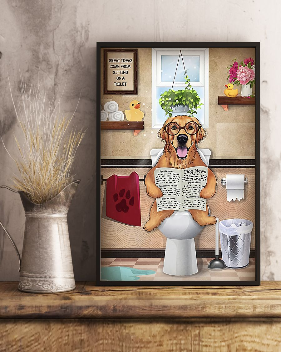 golden retriever great ideas sitting on toilet poster 5
